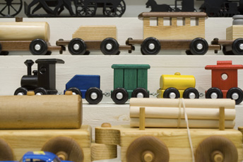 Wooden toy trains